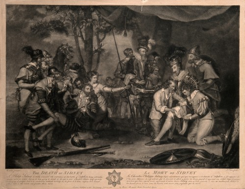 V0006947 The death of Sir Philip Sidney at the battle of Zutphen: he